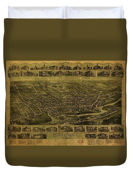 Hackensack New Jersey Vintage City Street Map 1896 Duvet Cover
