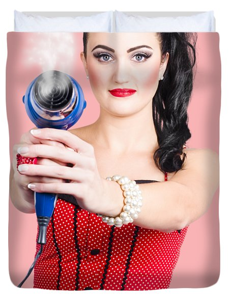 Hairdresser Woman Shooting A Cool Haircut In Style Duvet Cover