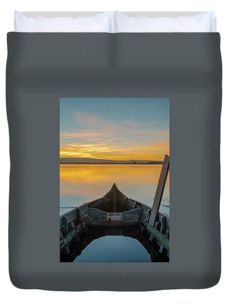 Duvet Cover featuring the photograph Half A Boat by Bruno Rosa