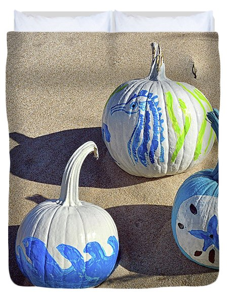 Duvet Cover featuring the photograph Halloween Blue And White Pumpkins On A Dune by Bill Swartwout Fine Art Photography