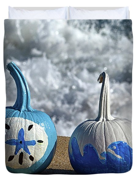 Duvet Cover featuring the photograph Halloween Blue And White Pumpkins On The Beach by Bill Swartwout Fine Art Photography