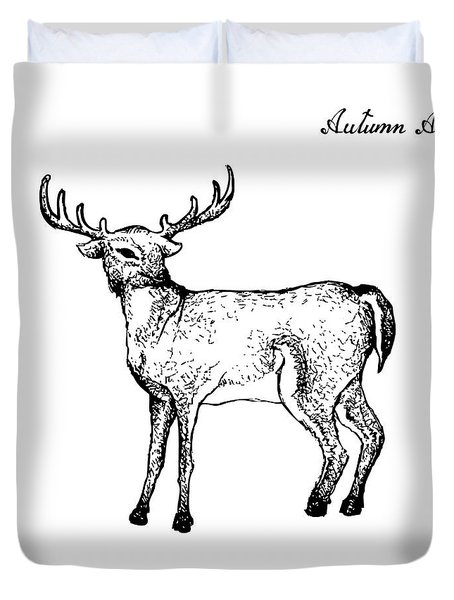 Hand Drawn Of Autumn Whitetail Deer On White Background Duvet Cover