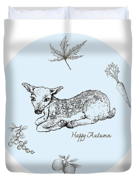Hand Drawn Of Fawn Deer With Autumn Fruits And Plants Duvet Cover