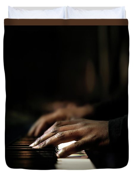 Hands Playing Piano Close-up Duvet Cover