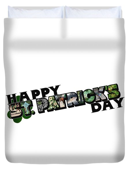 Happy St. Patrick's Day Big Letter Duvet Cover