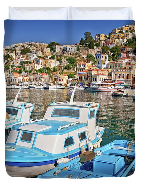 Harbor Of Symi, Greece Duvet Cover
