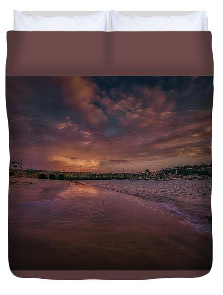 Harbour Sunset - St Ives Cornwall Duvet Cover