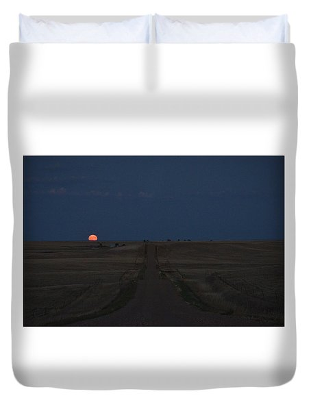 Duvet Cover featuring the photograph Harvest Moon 1 by Carl Young