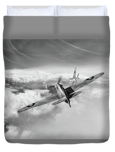 Duvet Cover featuring the photograph Hawker Hurricane Deflection Shot Bw Version by Gary Eason