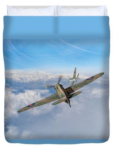 Duvet Cover featuring the photograph Hawker Hurricane Deflection Shot by Gary Eason