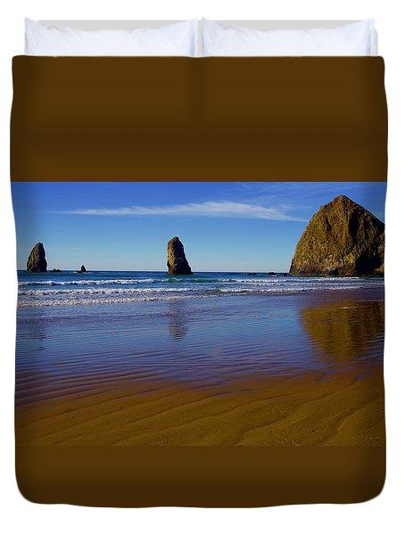 Haystack Rock Panoramic Duvet Cover