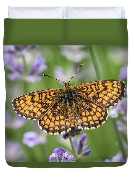 Heath Fritillary On The Lavender Duvet Cover