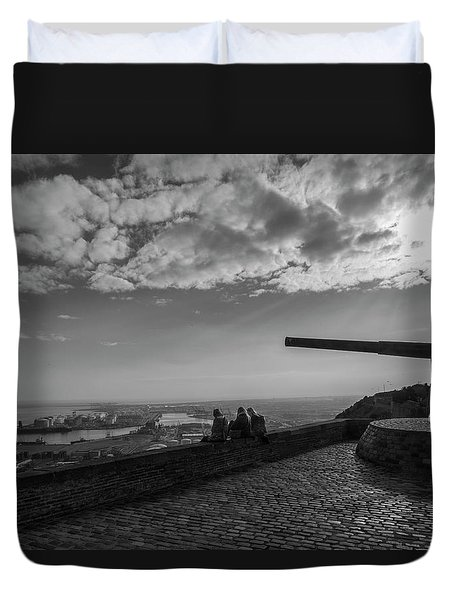Duvet Cover featuring the photograph Heavy Weapons And A Light Lunch by Alex Lapidus