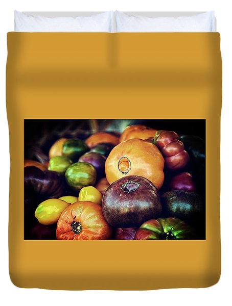 Heirloom Tomatoes At The Farmers Market Duvet Cover