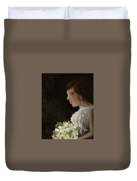 Duvet Cover featuring the painting Her Big Day by Fe Jones
