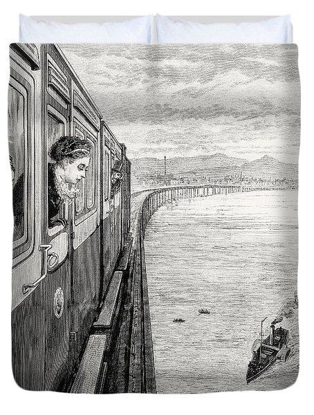 Her Majesty Queen Victoria Crossing Tay Bridge, Dundee, 1879 Duvet Cover