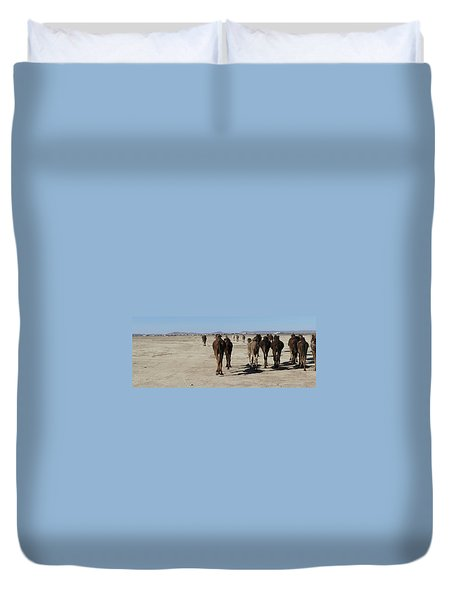 Herd Of Camels Crossing The Highway Near  Rissani Duvet Cover