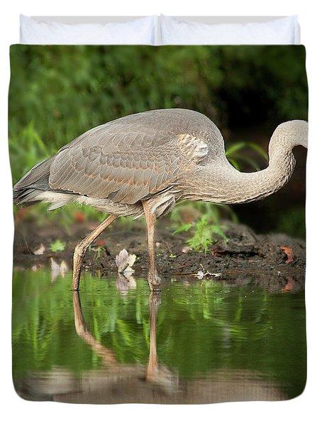 Heron Fishing Duvet Cover