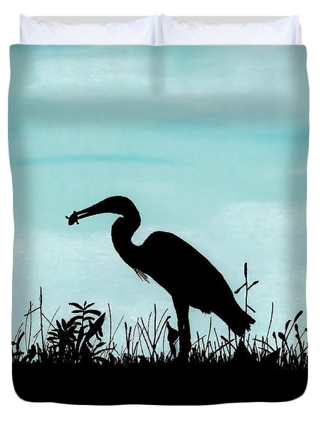 Heron Has Supper Duvet Cover