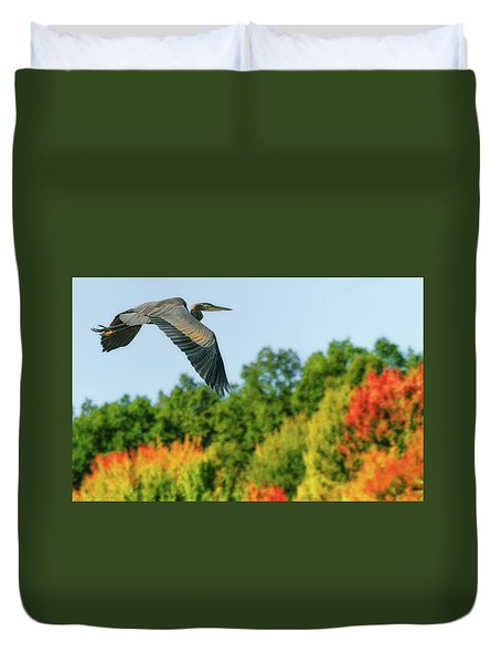 Heron In Autumn  Duvet Cover
