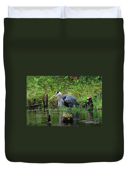 Heron In Beaver Pond Duvet Cover