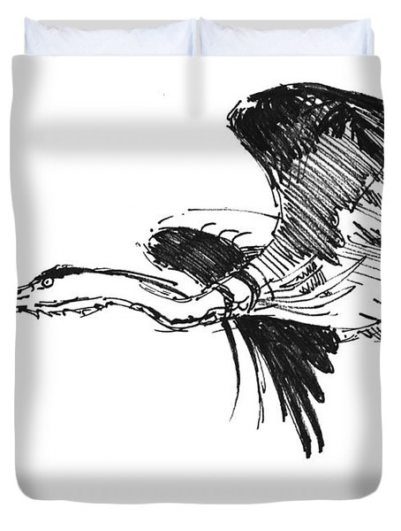 Heron In Flight Drawing Duvet Cover