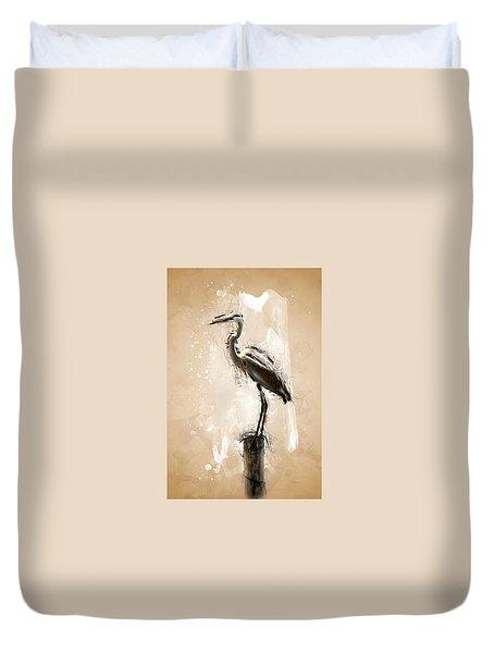 Heron On Post Duvet Cover