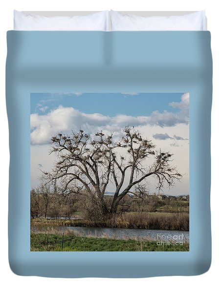 Duvet Cover featuring the photograph Heronry by Jon Burch Photography