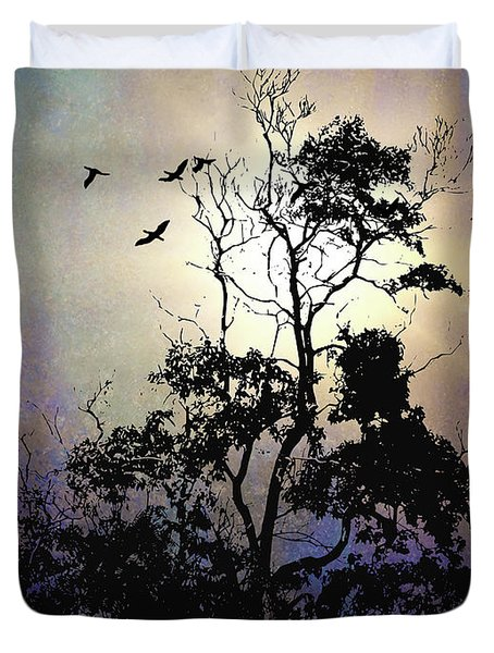 Herons At Dusk Duvet Cover