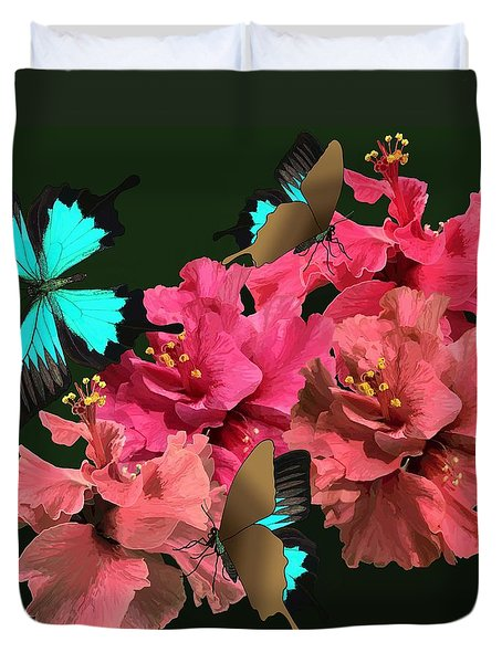 Hibiscus Butterfly Joy Duvet Cover