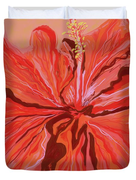 Hibiscus Color Lines Duvet Cover