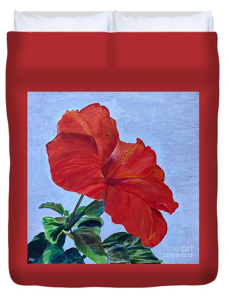 Duvet Cover featuring the painting Hibiscus by Mkc