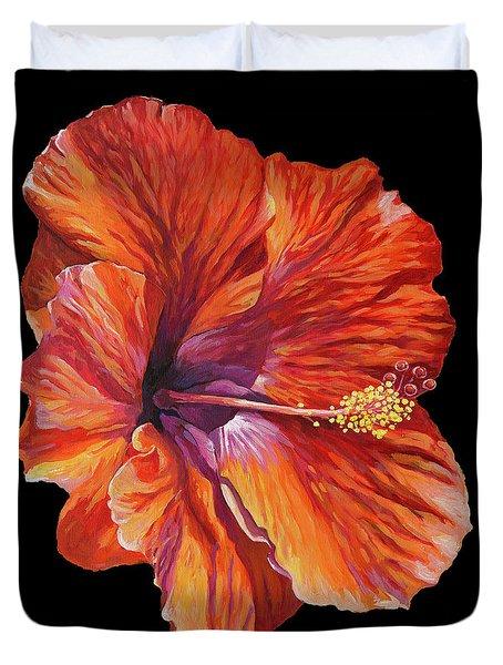 Hibiscus On Black Square Duvet Cover