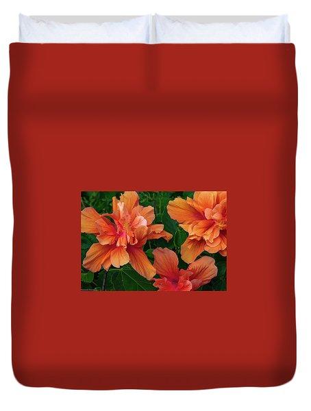 Hibiscus Tripcus Orangus Duvet Cover