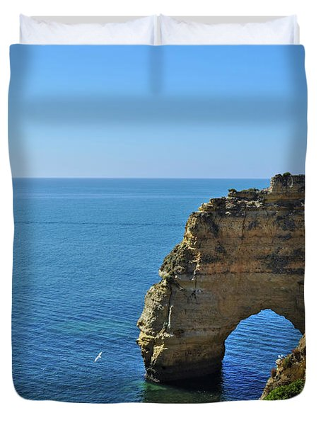 Hidden Arch In Marinha Beach Duvet Cover