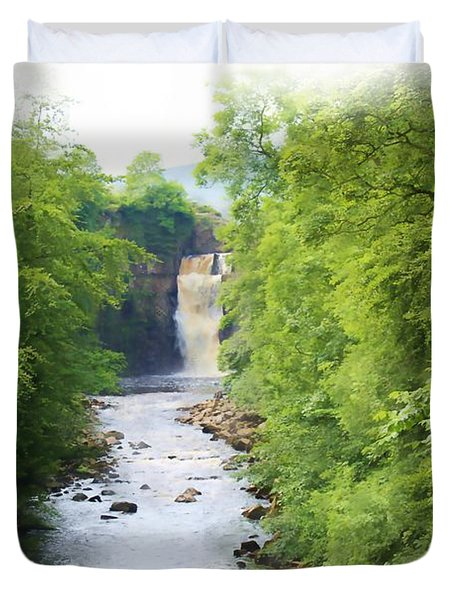 High Force Waterfall Painting Duvet Cover