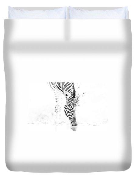 High Key Zebra Drinking Duvet Cover