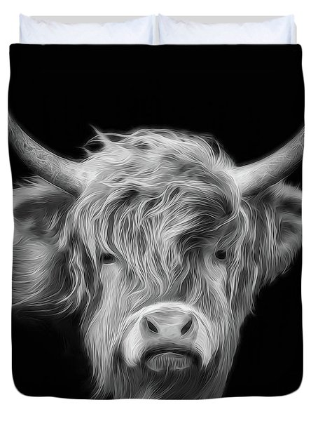 Highland Cow In Black And White Duvet Cover