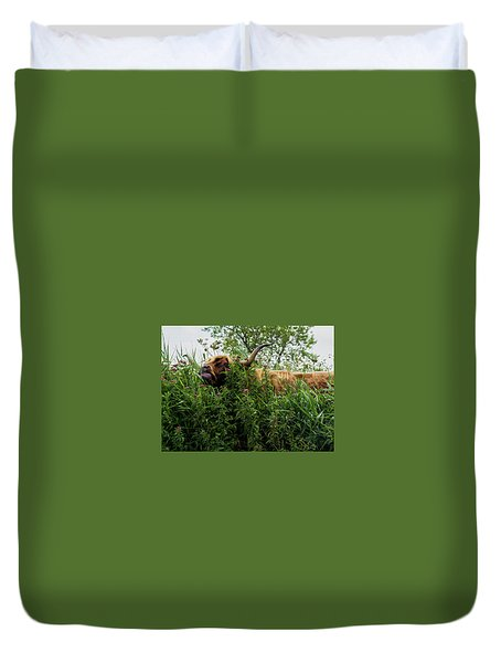 Duvet Cover featuring the photograph Highland Cow In Tall Grass by Scott Lyons