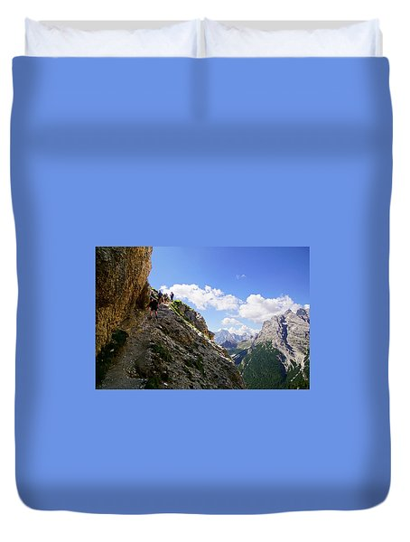 Hikers On Steep Trail Up Monte Piana Duvet Cover