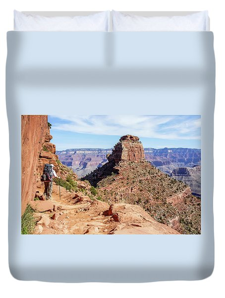 Duvet Cover featuring the photograph Hiking Toward O'neill Butte, Grand Canyon by Dawn Richards