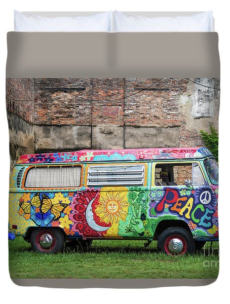 Hippie Dippie Vw Micro Bus Duvet Cover