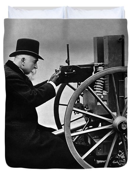 Hiram Maxim Firing His Maxim Machine Gun - 1884 Duvet Cover