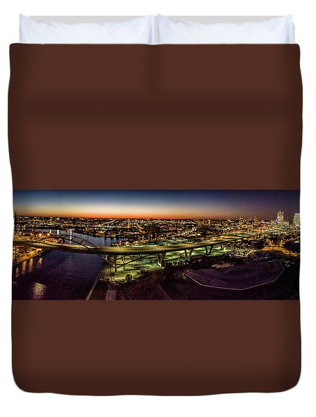 Duvet Cover featuring the photograph Hoan Bridge At Dusk Panorama by Randy Scherkenbach