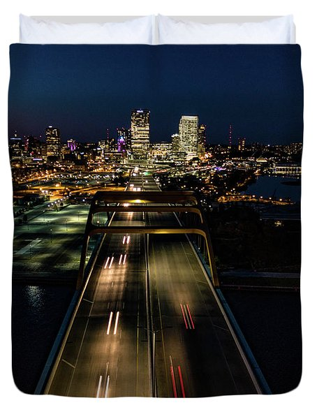 Duvet Cover featuring the photograph Hoan Bridge Streaks by Randy Scherkenbach