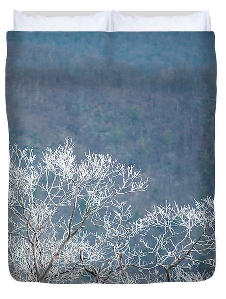 Hoarfrost Collects On Branches Duvet Cover