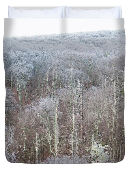 Hoarfrost In The Tree Tops Duvet Cover