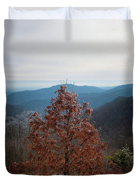 Hoarfrost On Fall Leaves Duvet Cover