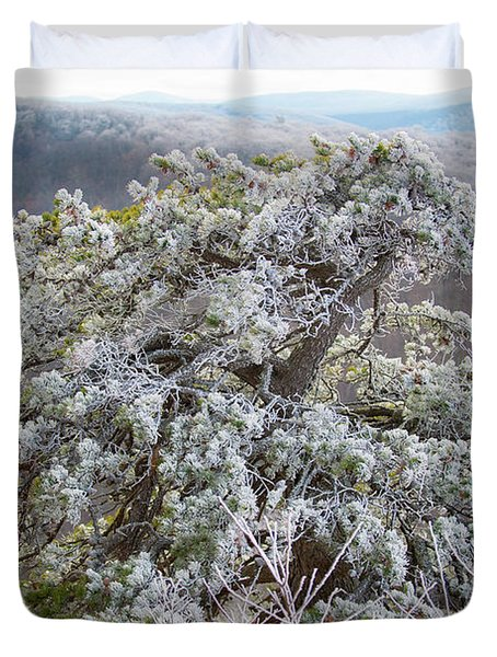 Hoarfrost On Trees Duvet Cover