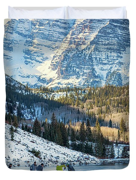 Hockey On Maroon Lake Maroon Bells Aspen Colorado Duvet Cover